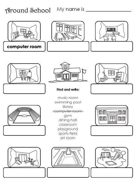 places at school worksheet worksheets for all