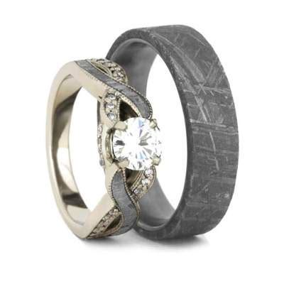 meteorite wedding ring moissanite engagement ring and