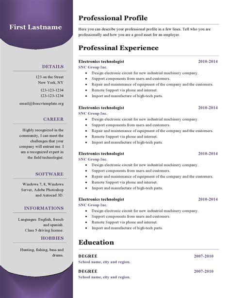Resume Cv Template by Resume Templates 380 To 385 Free Cv Template Dot Org