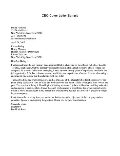 Cfo Cover Letter by Ceo Cover Letter Sle 194 187 Ceo Cover Letter Sle