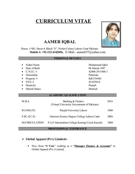 Cv Exemple Simple by Curriculum Vitae Exemple Simple