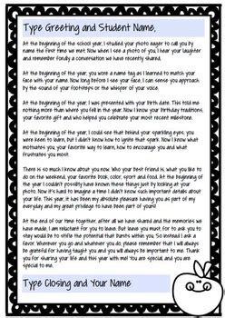 year letter   teacher editable