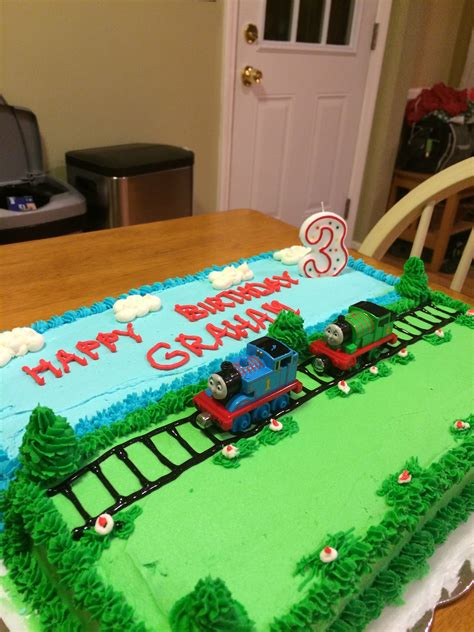 thomas cake  buttercream icing toy trains
