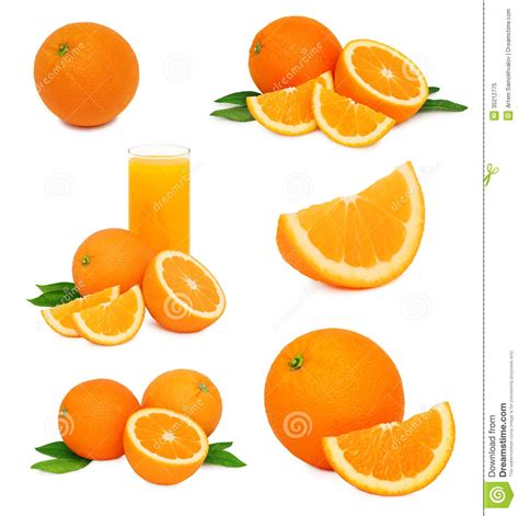 Set Ripe Orange Fruits With Green Leaves Isolated