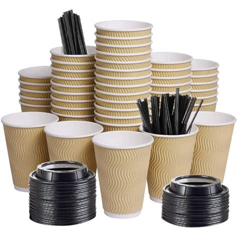 We have researched and developed these styles of twist and ripple cups and double wall cups with well dome lids. 12oz 100 Packs Insulated Kraft Ripple Wall Disposable ...