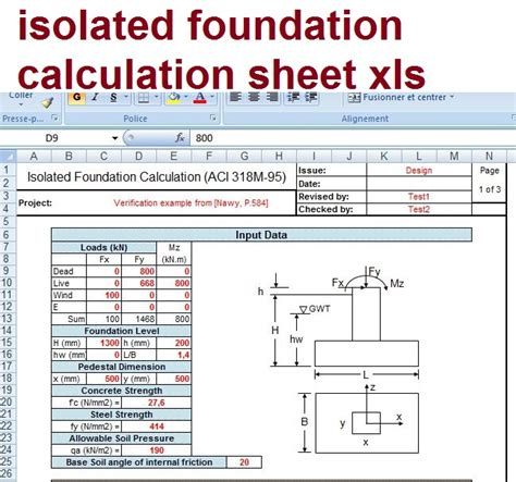 isolated foundation calculation sheet xls civil