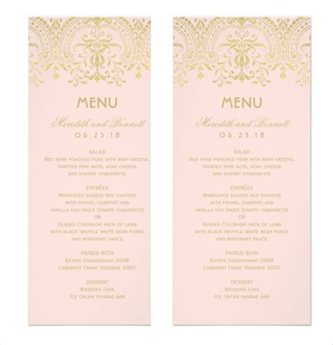 sle menu template dinner menu template template business