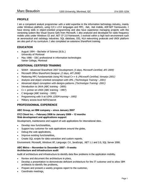 sharepoint developer resume sle application programmer resume sales programmer lewesmr