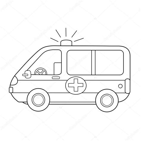 libro da colorare  bambini auto ambulanza vettoriali