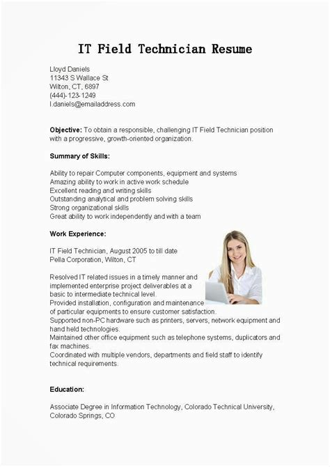 resume sles it field technician resume sle