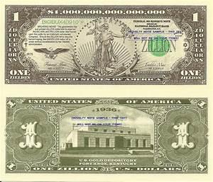 Fort Knox Walking Liberty Zillion Dollar Bills x 2 New