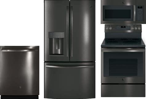 GE 4 Piece Black Stainless Steel Appliance Package