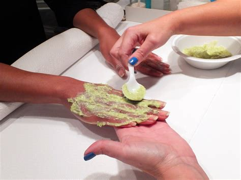 green beauty avocado treatment masks  hands face