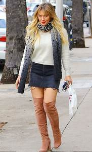 Skirt sweater streetstyle mini skirt hilary duff over the knee boots fall outfits denim ...