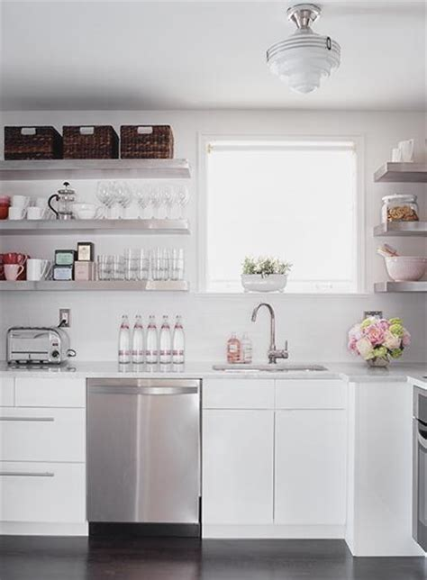 Floating Stainless Steel Shelves  Transitional  Kitchen