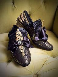 Men's Brocade Shoes Black Satin Gold Lace Ro…
