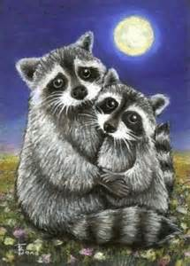 Two Raccoons in Love
