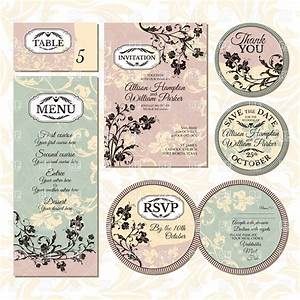 set of vintage wedding cards with floral elements With wedding invitations rsvp and thank you cards