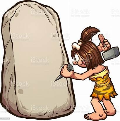 Cartoon Stone Cave Writing Woman Cavewoman Rock