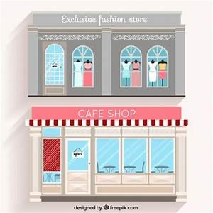 Design Shop 23 : fashion shop and cafe facades in flat design vector free download ~ Orissabook.com Haus und Dekorationen