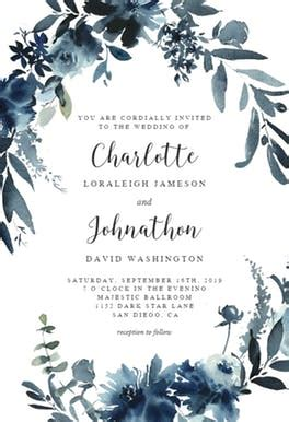 indigo flowers wedding invitation template   island