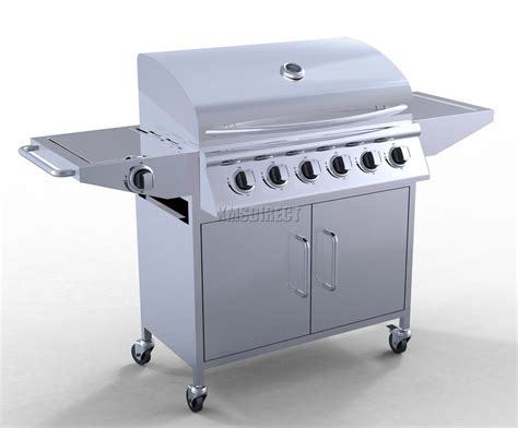 6 burner bbq gas grill stainless steel barbecue 1 side silver outdoor portable ebay