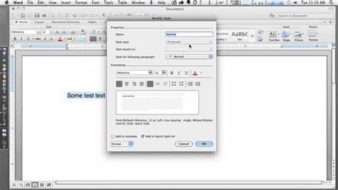 setting default font and style in microsoft word 2011