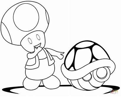 Mario Toad Coloring Shell Printable Luigi Kleurplaten