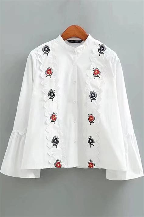 white stand collar floral embroidery scalloped trim flare