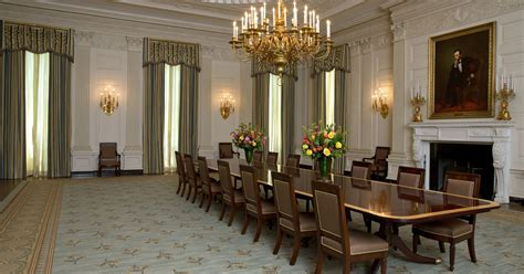 michelle obama touches  state dining room
