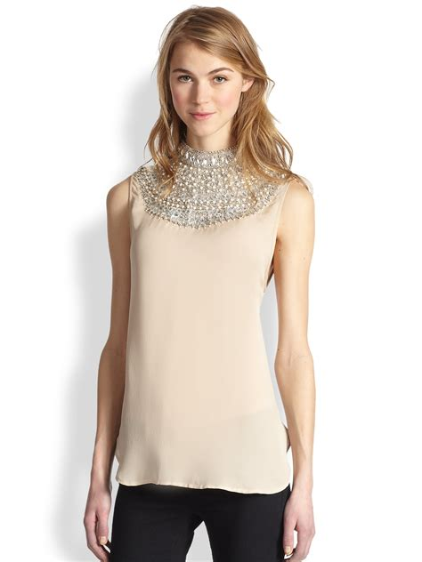 haute hippie blouse haute hippie embellished silk blouse in pink buff pearls