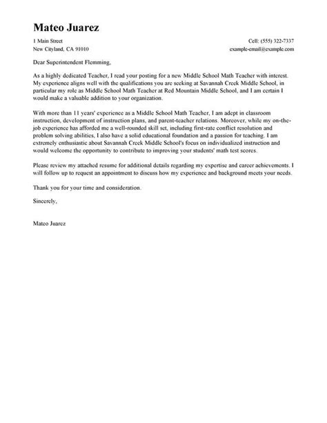 leading professional teacher cover letter examples