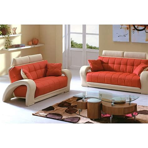 orange living room furniture 1546 2 pcs living room set sofa and loveseat in orange and beige leather by american eagle