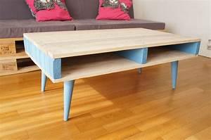 Table Pieds Compas : sur commande table basse en bois de palettes avec pieds compas coniques palettes ~ Teatrodelosmanantiales.com Idées de Décoration