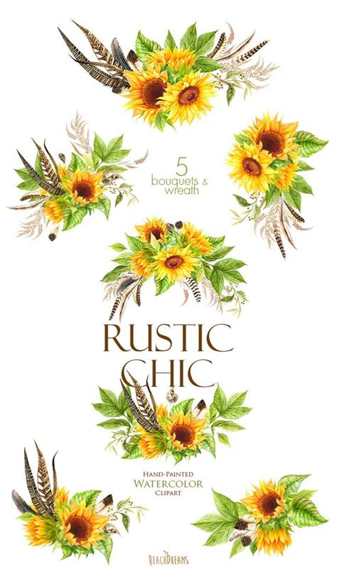 watercolor sunflowers  feathers bohemian boho flowers
