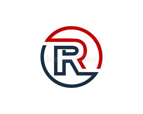 Letter R Circle Line Icon Logo Design Element Stock Vector