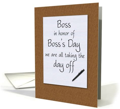 bosss day card  employees humorous notepad