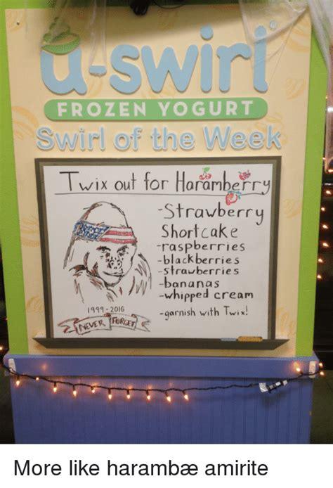 Frozen Yogurt Meme - frozen yogurt swirl of the week twix out for haranberry strawberry shortcake raspberries