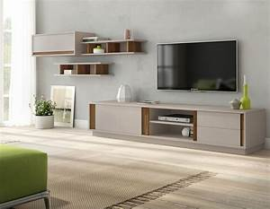 ensemble meuble tv gris laqu mate et couleur bois moderne lati With couleur moderne pour salon 18 personnalisez votre salon avec le meuble tv industriel