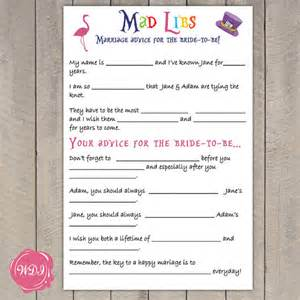 advice for and groom cards in madlibs bridal shower hen party