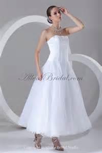 ankle length wedding dress allens bridal organza strapless neckline ankle length a line wedding dress