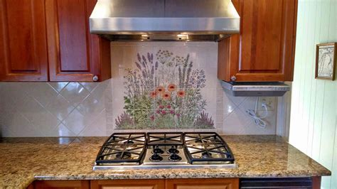julies flowering herb garden hand painted ceramic tile mural