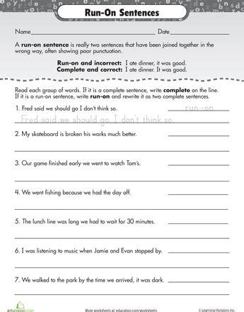 work on writing run on sentences homeschooling
