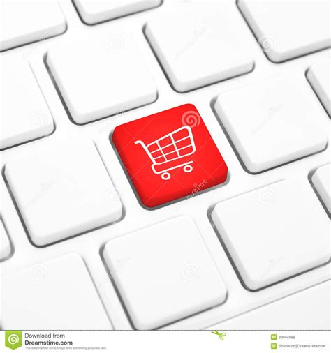 Shop Online Business Concept Red Shopping Cart Button Or