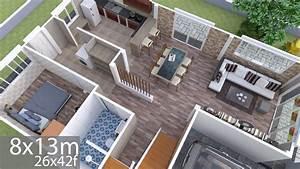 Plan, 3d, Interior, Design, Home, Plan, 8x13m, Full, Plan, 3beds