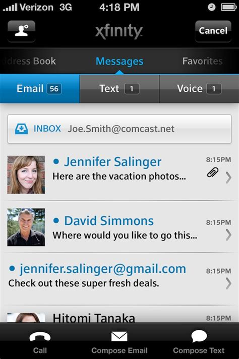 comcast email on iphone xfinity connect productivity entertainment free app for