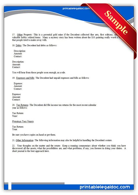 free printable executor of estate form free printable checklist for use by executor form generic