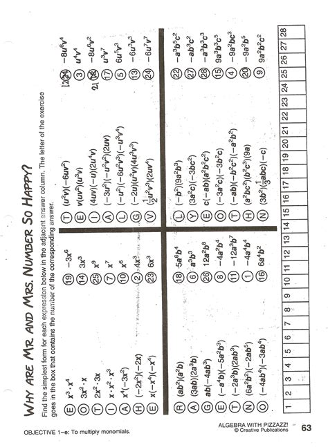 worksheets algebra with pizzazz worksheet answers