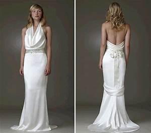cowl neck white silk wedding dress with low back by amy kuchel With silk wedding dresses low back