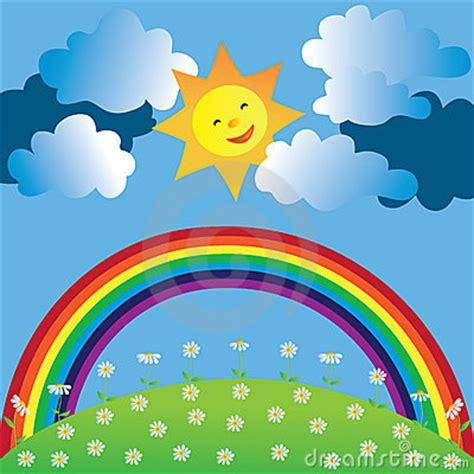 happy sun  rainbow royalty  stock photography